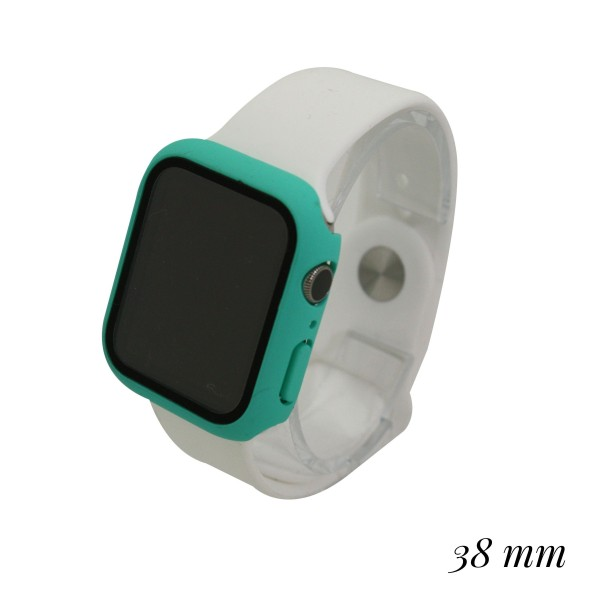 Full Hard PC Ultra-Thin Scratch Resistant Bumper HD Protective Tampered Glass Case for Smart Watches Only.  - Fits 38mm Watch Face