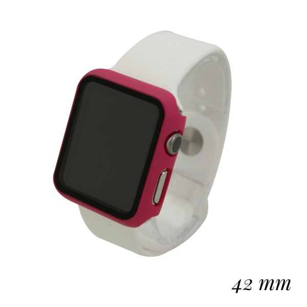 Full Hard PC Ultra-Thin Scratch Resistant Bumper HD Protective Tampered Glass Case for Smart Watches Only.  - Fits 42mm Watch Face - Includes 1-Wet & 2-Dry Screen Towelettes
