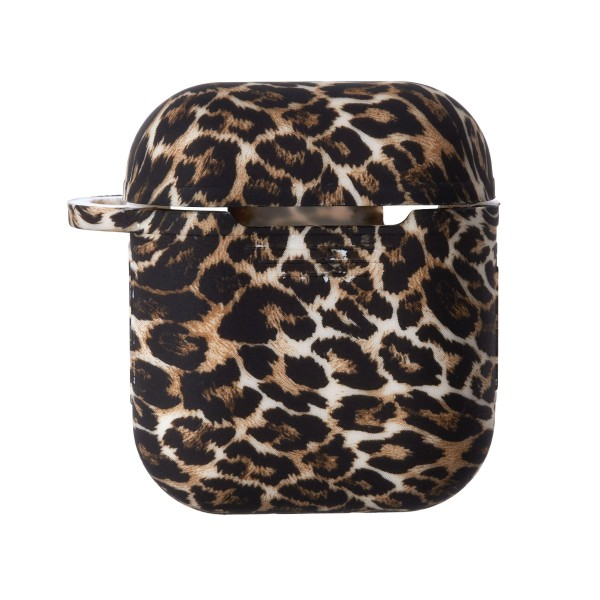 Leopard Print Hard Plastic Protective Skin for AirPod Case.  - Compatible with Regular AirPods Only - Silicone Seal Strip  - Full 360 Protection - Carabiner Included   Headphones not Included.
