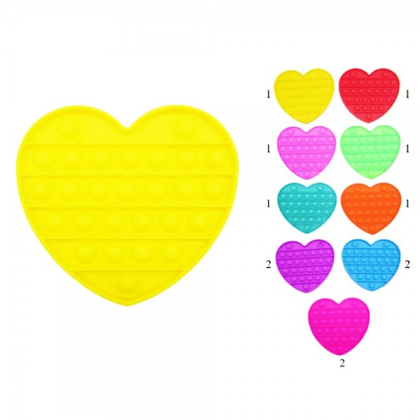 """Heart-Shaped Push Pop Fidget Toy. (Assorted Colors 12 Pack)    - Ages 3+ - As Seen On TikTok - """"It's Like Bubble Wrap That Never Ends!"""""""