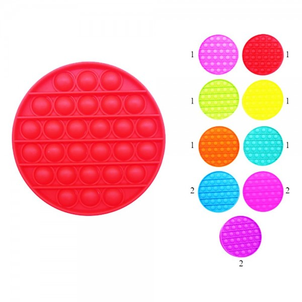 """Circle-Shaped Push Pop Fidget Toy. (Assorted Colors 12 Pack)   - Ages 3+ - As Seen On TikTok - """"It's Like Bubble Wrap That Never Ends!"""""""