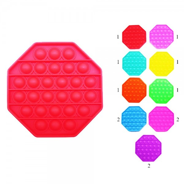 "Octagon-Shaped Push Pop Fidget Toy. (Assorted Colors 12 Pack)     - Ages 3+ - As Seen On TikTok - ""It's Like Bubble Wrap That Never Ends!"""