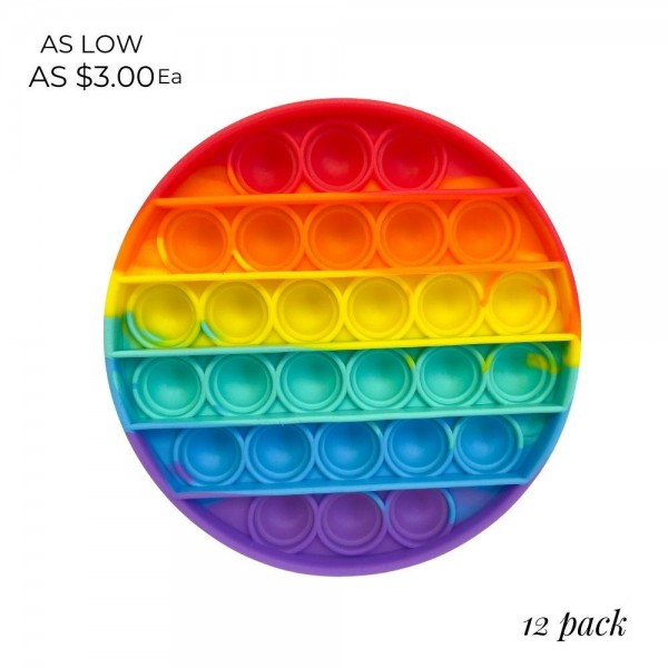Rainbow Circular Shaped Push Pop Fidget Toy. (12 Pack) 
