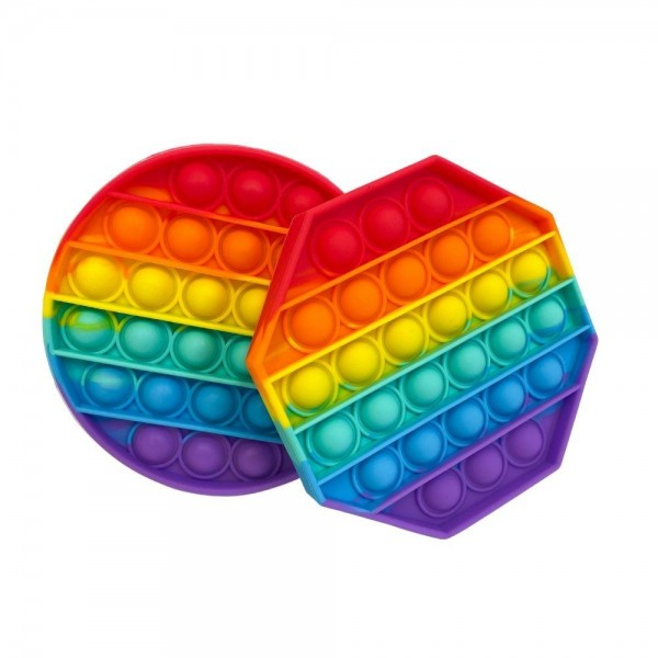 """Rainbow Circular Shaped Push Pop Fidget Toy. (12 Pack)   - Ages 3+ - As Seen On TikTok - """"It's Like Bubble Wrap That Never Ends!"""""""