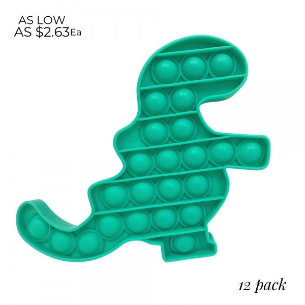 "Dinosaur Shaped Push Pop Fidget Toy. (12 Pack)   - Ages 3+  - As Seen On TikTok  - ""It's Like Bubble Wrap That Never Ends!"""