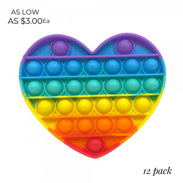 "Rainbow Heart Shaped Push Pop Fidget Toy. (12 Pack)   - Ages 3+ - As Seen On TikTok - ""It's Like Bubble Wrap That Never Ends!"""