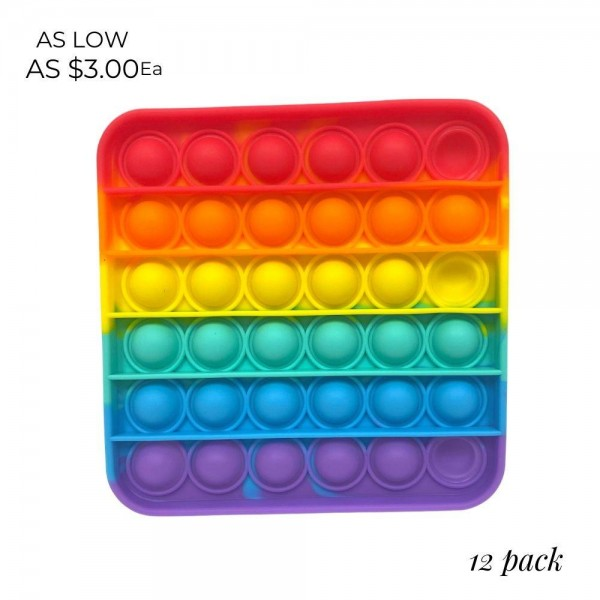 "Rainbow Square Shaped Push Pop Fidget Toy. (12 Pack)   - Ages 3+ - As Seen On TikTok - ""It's Like Bubble Wrap That Never Ends!"""