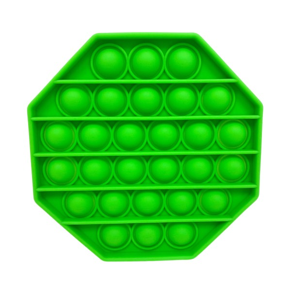 """Green Octagon-Shaped Push Pop Fidget Toy.    - Ages 3+ - As Seen On TikTok - """"It's Like Bubble Wrap That Never Ends!"""""""
