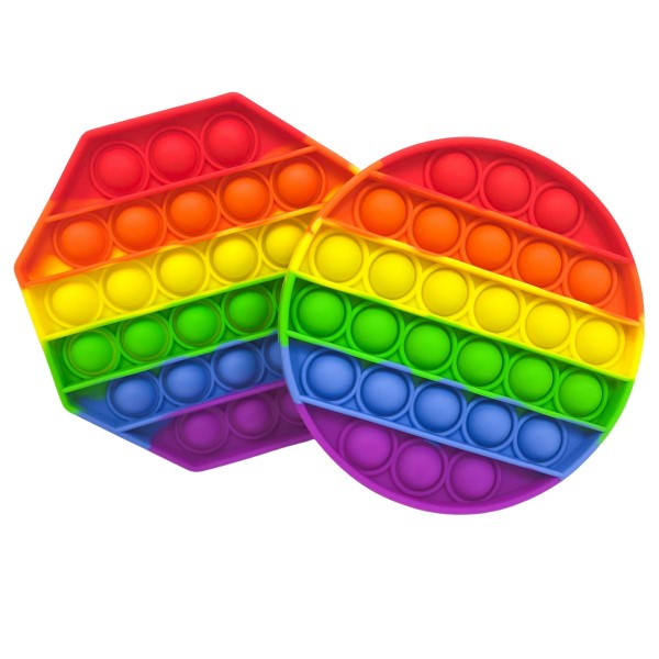 """Round Rainbow Push Pop Fidget Toy.    - Ages 3+ - As Seen On TikTok - """"It's Like Bubble Wrap That Never Ends!"""""""