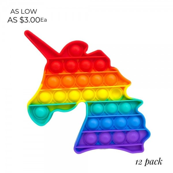 """Unicorn-Shaped Rainbow Push Pop Fidget Toy. (Assorted Colors 12 Pack)  - Ages 3+ - As Seen On TikTok - """"It's Like Bubble Wrap That Never Ends!"""""""