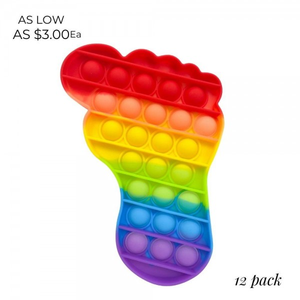 """Rainbow Footprint Shaped Push Pop Fidget Toy. (12 Pack)   - Ages 3+  - As Seen On TikTok  - """"It's Like Bubble Wrap That Never Ends!"""""""