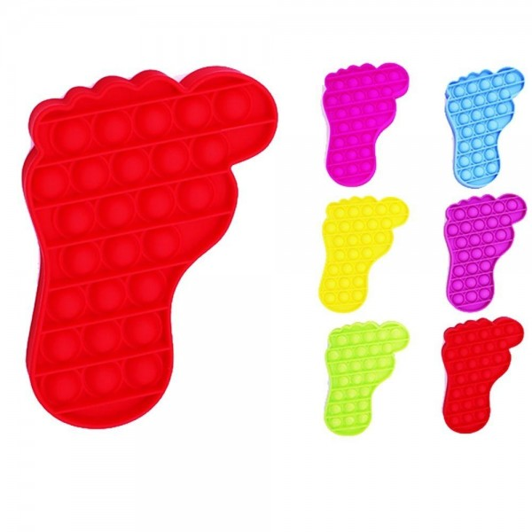 """Foot Print Push Pop Fidget Toy. (Assorted Colors 12 Pack)  - Ages 3+ - As Seen On TikTok - """"It's Like Bubble Wrap That Never Ends!"""""""