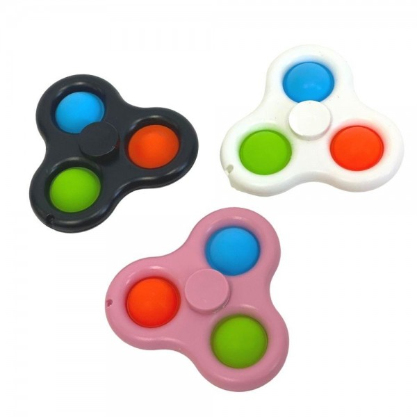 """Fidget Spinner Push Pop Fidget Toy. (Assorted Colors 12 Pack)  - Ages 3+ - As Seen On TikTok - """"It's Like Bubble Wrap That Never Ends!"""""""