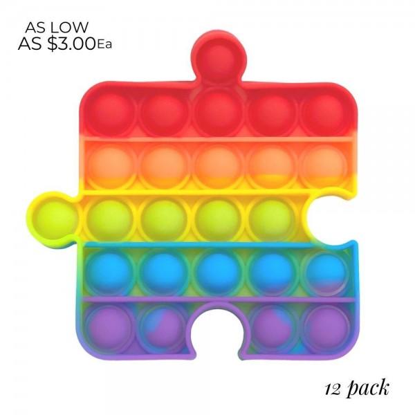 "Rainbow Puzzle Piece Shaped Push Pop Fidget Toy. (12 Pack)  - Ages 3+ - As Seen On TikTok - ""It's Like Bubble Wrap That Never Ends!"""