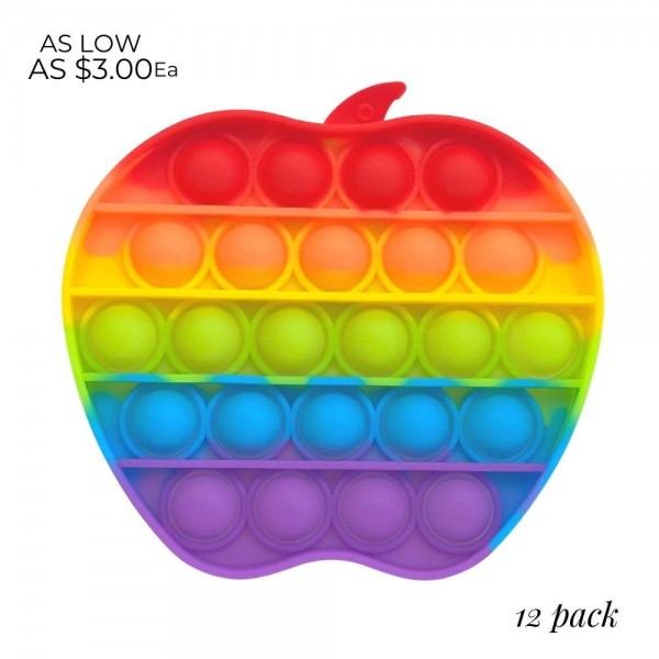 """Rainbow Apple Shaped Push Pop Fidget Toy. (12 Pack)  - Ages 3+ - As Seen On TikTok - """"It's Like Bubble Wrap That Never Ends!"""""""