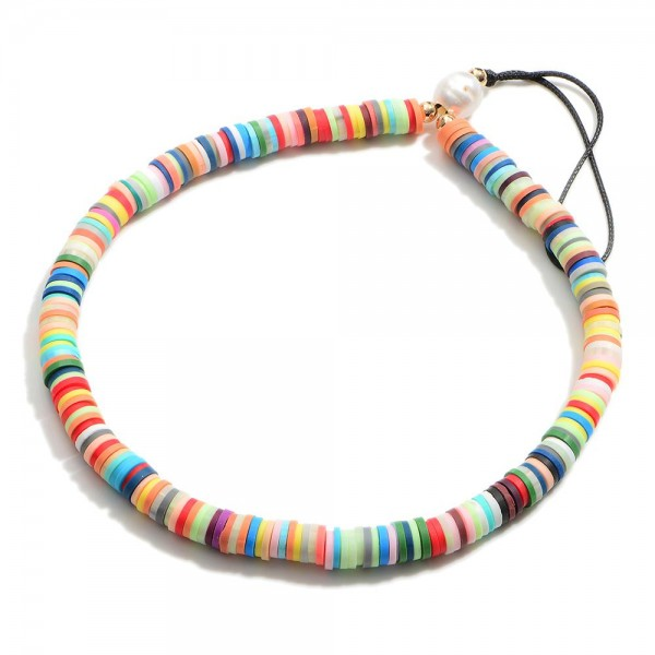 """Multicolor Heishi Bead Cell Phone Strap.  - Approximately 5.5"""" in Length"""