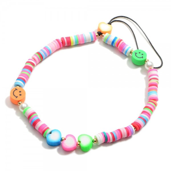 """Multicolor Heishi Bead Cell Phone Strap Featuring Smiley Face Accents.  - Approximately 5.5"""" in Length"""