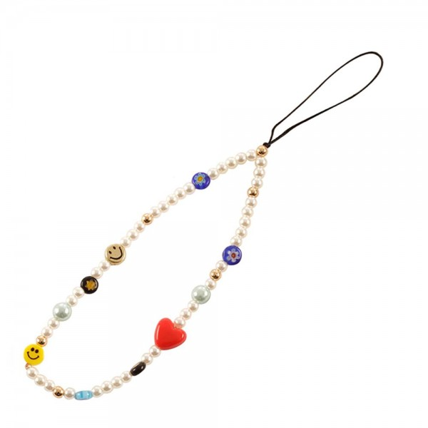 """Smiley Face Beaded Cell Phone Strap with Pearl Accents  - Approximately 6"""" long"""