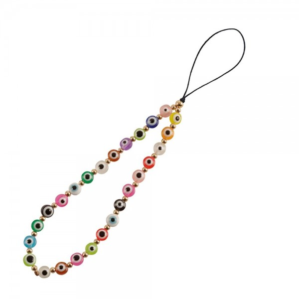 """Multi-Colored Beaded Cell Phone Strap with Gold Accents  - Approximately 6"""" long"""