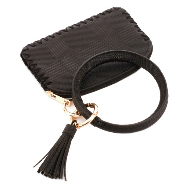 "Faux Leather Plaid Print Coin & Card Wallet Tassel Key Ring.  - Zipper Closure - No Pockets - Open Pouch - Approximately 5"" T x 3.5"" W - 100% PU"