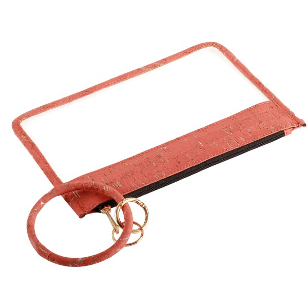 "Clear Zipper Pouch Featuring Faux Cork Trim with Key Ring.  - Zipper Closure - Detachable Key Ring - Ring 3""  - Approximately 10"" L x 6"" W"