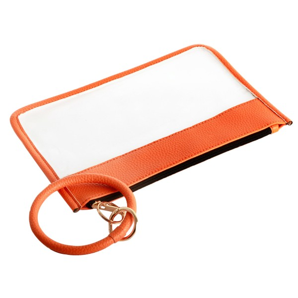 "Clear Zipper Pouch Featuring Faux Leather Trim with Key Ring.  - Zipper Closure - Detachable Key Ring - Ring 3""  - Approximately 10"" L x 6"" W"