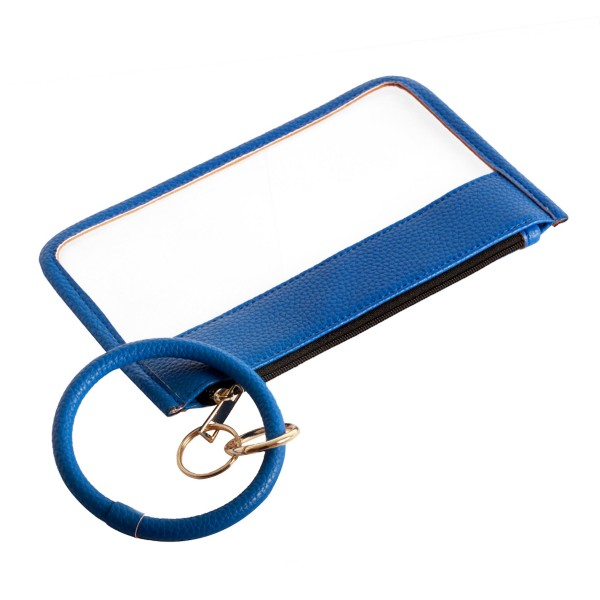 "Clear Zipper Wristlet Pouch Featuring Faux Leather Trim & Detachable Key Ring.  - Zipper Closure - Detachable Key Ring - Ring 3""  - Approximately 8"" L x 5"" W"
