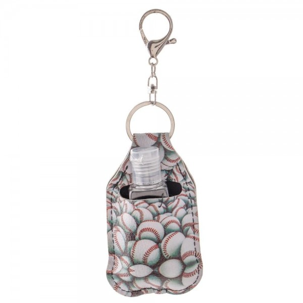 "Faux Leather Neoprene Baseball Hand Sanitizer Holder/Keychain Holder.  - Can Attach to Keys / Purses / Bags / Backpacks Etc. - Hand Sanitizer Not Included** - Holds 1fl oz  - Outside Material: Faux Leather - Inside Material: Neoprene - Approximately 4"" T x 2.5"" W  ** Comes with Empty Sanitizer Bottle."