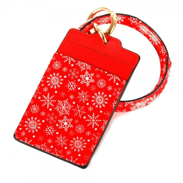"""Faux Leather Christmas Print CC/ID Holder Bangle Wristlet.  - Snowflake Print - 2 CC/ID Slot Holder - Bangle to Wear on Wristlet - Detachable - Inner Diameter 3""""  - Approximately 4.5"""" x  3"""""""