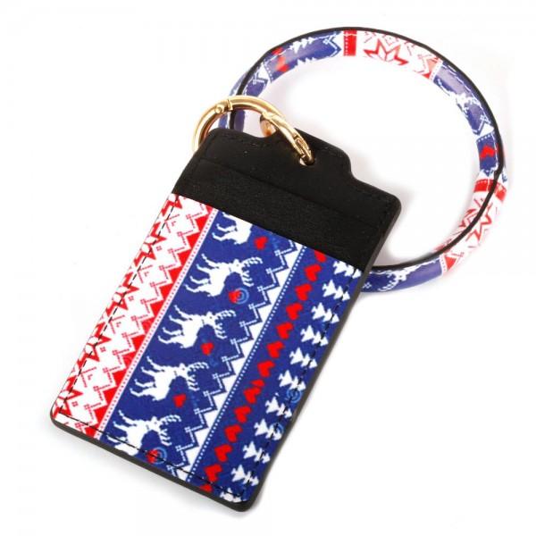 "Faux Leather Christmas Print CC/ID Key Ring Bangle Wristlet.  - Reindeer Fair Isle Print - 2 CC/ID Slot Holder - Bangle to Wear as Wristlet - Detachable - Inner Diameter 3""  - Approximately 4.5"" x 3"""