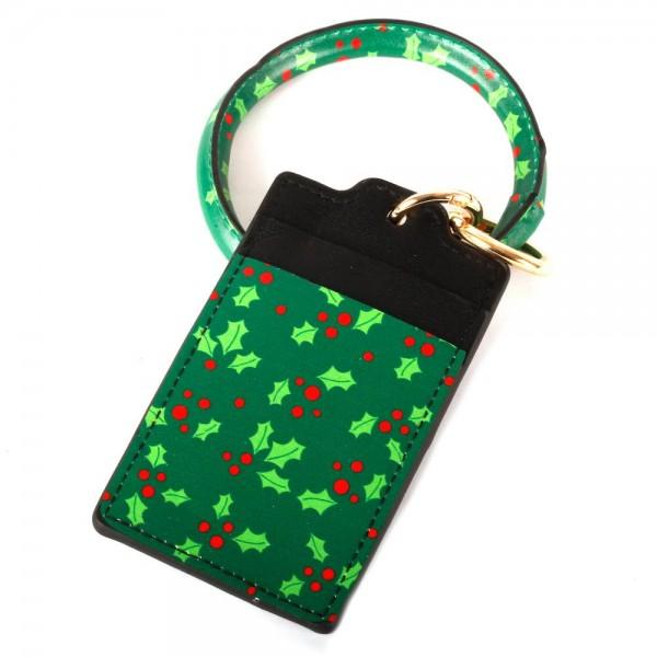 "Faux Leather Christmas Print CC/ID Key Ring Bangle Wristlet.  - Mistletoe Print - 2 CC/ID Slot Holder - Bangle to Wear as Wristlet - Detachable  - Inner Diameter 3"" - Approximately 4.5"" x 3"""