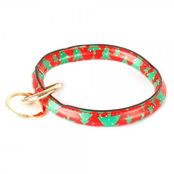 "Faux Leather Christmas Key Ring Bangle Keychain Wristlet.  - Christmas Tree Print - Gold Keyring to Hold Keys - Bangle to Slip onto Your Wrist - Approximately 3"" Inner Diameter"