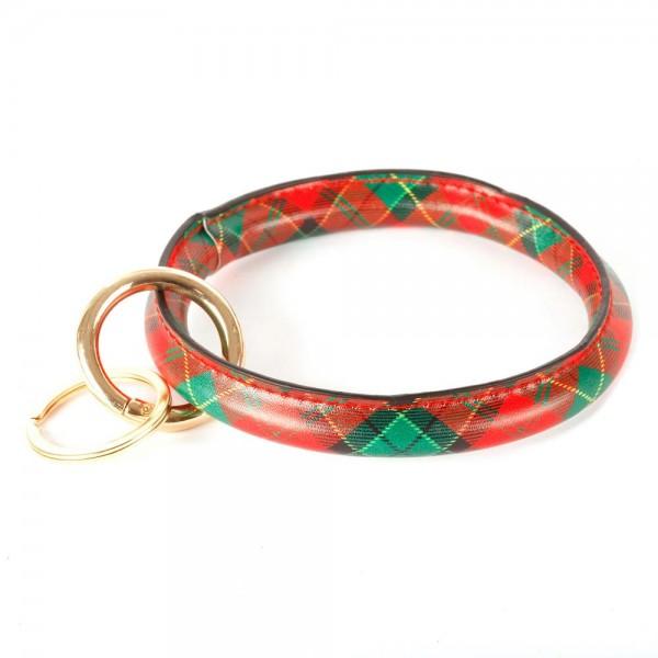 "Faux Leather Christmas Plaid Key Ring Bangle Keychain Wristlet.  - Gold Keyring to Hold Keys - Bangle to Slip onto Your Wrist - Approximately 3"" Inner Diameter"