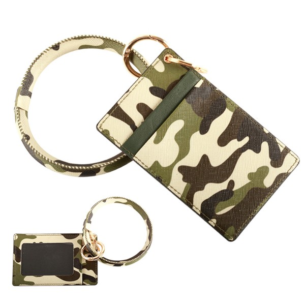 "Faux Leather Camouflage CC/ID Key Ring Bangle Wristlet.  - 2 Slot Credit Card Holder - Clear Back Pocket - Bangle to Slip onto your Wrist - Approximately 3"" Inner Diameter - Approximately 4"" x 2.5"""