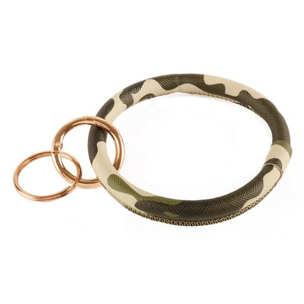"Faux Leather Camouflage Key Ring Bangle Keychain Holder Wristlet.  - Gold Keyring to Hold Keys - Bangle to Slip onto Your Wrist - Approximately 3"" Inner Diameter"