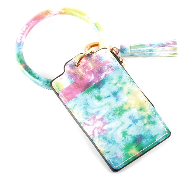"Faux Leather Tie-Dye CC/Coin Key Ring Bangle Wristlet.  - Zipper Coin Pouch - 2 Slot Credit Card Holder - Bangle to Slip onto your Wrist - Tassel Detail - Approximately 3"" Inner Diameter - Approximately 4"" x 2.5"""