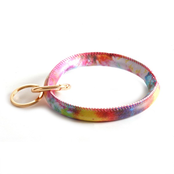 "Faux Leather Tie-Dye Key Ring Bangle Keychain Wristlet.  - Gold Keyring to Hold Keys - Bangle to Slip onto Your Wrist - Approximately 3"" Inner Diameter"