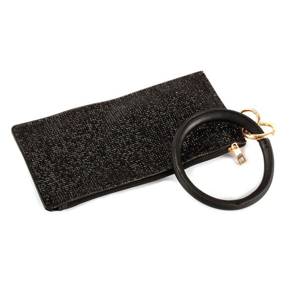 """Faux Leather Rhinestone Key Ring Wallet Wristlet.  - Zipper Closure - Open Inside - Fits Bills / Credit Cards / ID / Cell Phones - Approximately 3"""" Inner Diameter - Approximately 8"""" x 5"""""""