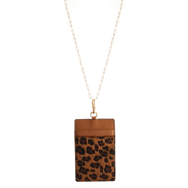 """Faux Leather Leopard Print CC/ID Holder Lanyard Necklace.  - 2 Slot Credit Card Holder - Clear Back Pocket for ID - Detachable - Approximately 4"""" x 2""""  - Approximately 44"""" L Overall - 3"""" Adjustable Extender"""