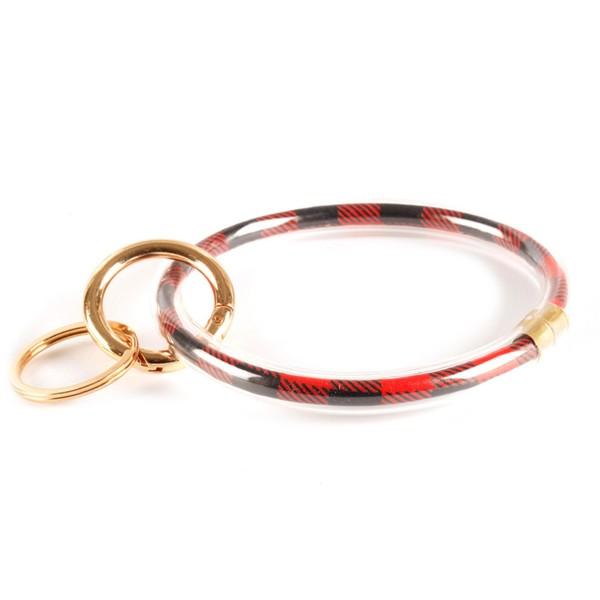 "Buffalo Check Filled Key Ring Bangle Keychain Holder Wristlet.  - Gold Keyring to Hold Keys - Bangle to Slip onto Your Wrist  - Approximately 3"" Inner Diameter"