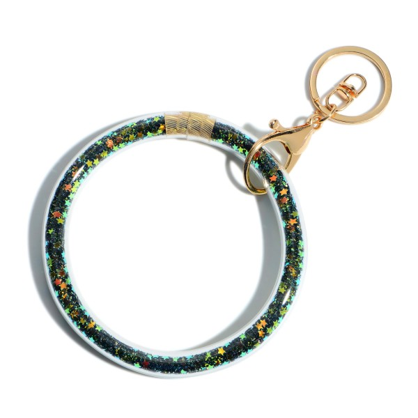 """Glitter Star Filled Key Ring Bangle Wristlet.  - Holds Keys - Can Wear on Wrist, Attach to Bags or Purses - 3.5"""" in Diameter"""