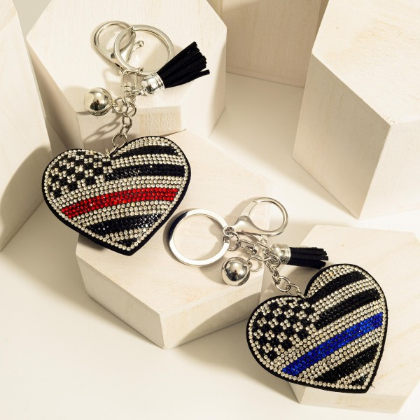 "Rhinestone Plush First Responders Heart Keychain Featuring Tassel.   - Heart Keychain Approximately 2.5"" in Length - Approximately 6"" in Length Overall"