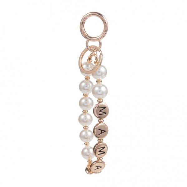 """Wooden Bead Bracelet Keychain Featuring Matte Gold Accent Beads that spell """"Mama"""".   - Keyring to hold your Keys - Clip to clip onto your Bag/Purse or Backpack - Approximately 10"""" in Length   - Bead Diameter is Approximately 10mm"""