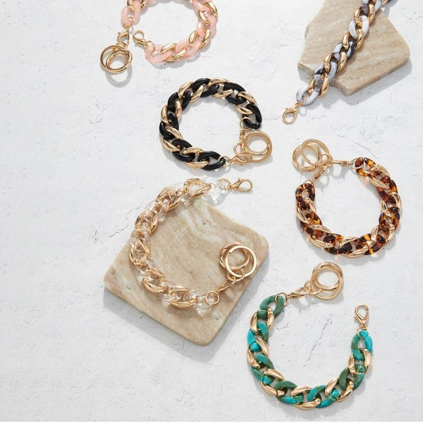 """Acetate Chain Link Bracelet Keychain.   - Hold Keys While Wearing On Wrist Or Bag - Approximately 7.25"""" in Diameter - Clip Onto Your Bag, Purse, or Backpack"""