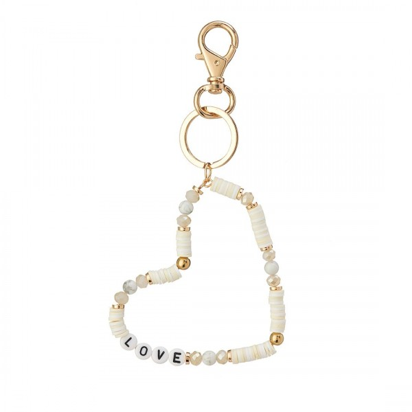"""Heart-Shaped Heishi Bead Keychain with Letter Beads that Spell """"Love"""".   - Keyring to hold your Keys - Clip to clip onto your Bag/Purse or Backpack"""