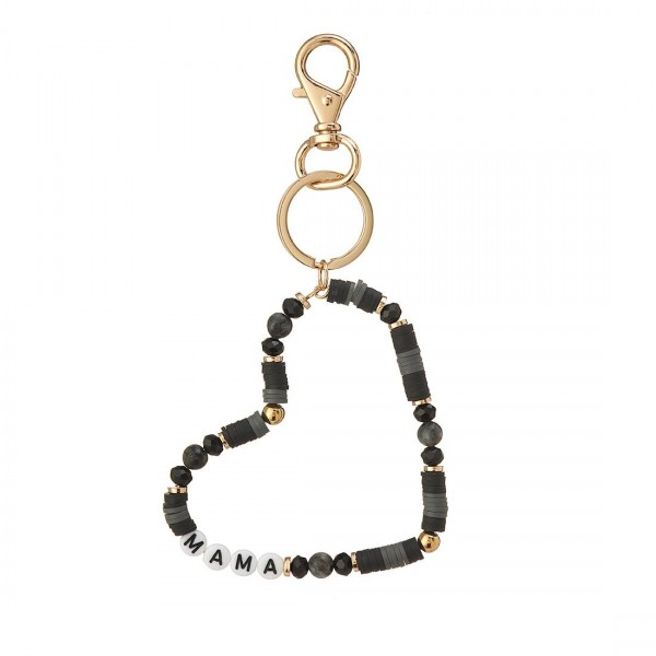 """Heart-Shaped Heishi Bead Keychain with Letter Beads that Spell """"Mama"""".   - Keyring to hold your Keys - Clip to clip onto your Bag/Purse or Backpack"""