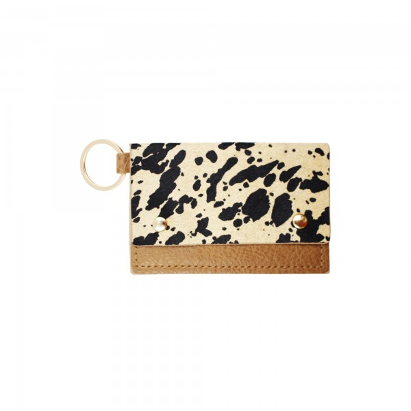 """Genuine Leather Animal Print CC/ID Keychain Holder.  - Faux Leather - Button Closure - 2 CC/ID Pockets - Keyring to attach Keys - Approximately 4"""" x 2.75"""""""
