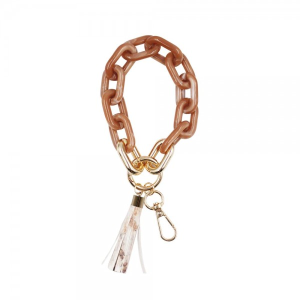 """Acetate Chain Link Bracelet Keychain Featuring a Genuine Leather Animal Print Tassel.   - Hold Keys While Wearing On Wrist Or Bag - Approximately 7.25"""" in Diameter - Clip Onto Your Bag, Purse, or Backpack"""