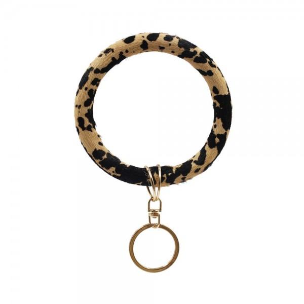 "Genuine Leather Animal Print Key Ring.   Gold Keyring to Hold Keys - Bangle to Slip onto Your Wrist - Approximately 3"" Inner Diameter"