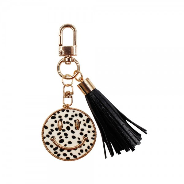"""Animal Print Smiley Face Keychain Featuring Tassel.   - Clip to Purses or Backpacks - Approximately 1.5"""" in Diameter"""